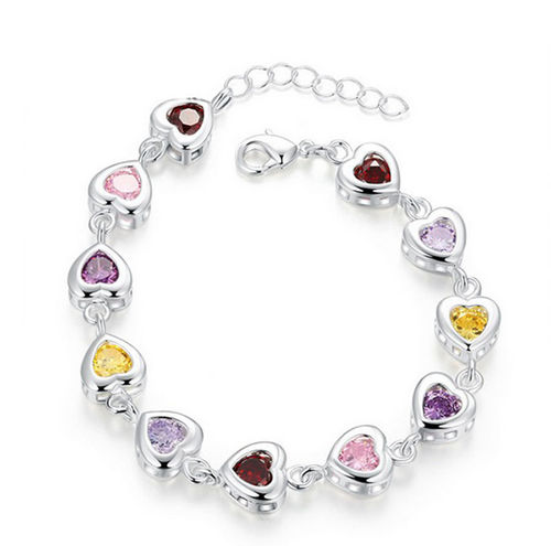 Multicolor Herz Armband - 925 Silber